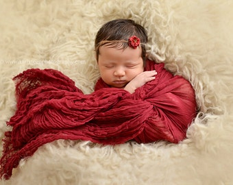 Burgundy Red Cheesecloth Baby Wrap Cheese Cloth Newborn Photography Prop