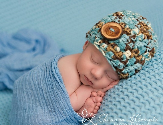 Little Man Newborn Beanie Hat in Blues and Browns