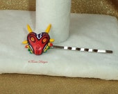 Zelda Large Majora's Mask Hair Pin One of a Kind OOAK Handmade Hand Sculpted Painted Custom made by TorresDesigns - Ready To Ship