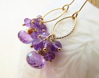 Amethyst cluster earrings. Dangle earrings. February Birthstone earrings. Wire wrapped. Drop earrings. Gemstone cascade . Gift.  Purple