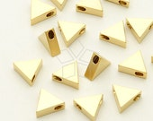 ME-181-MG / 2 Pcs - Triangle Bead Centerpiece (Small), Matte Gold Plated over Brass / 6mm x 5.4mm