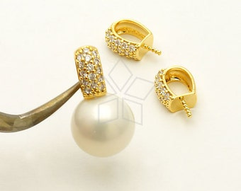 PD-766-GD / 1 Pcs - Elegant CZ Pendant for Half Drilled Pearl, 16K Gold Plated over Brass / 4.3mm x 9mm