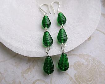 Emerald Green Leaf earrings