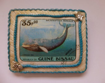 Whale Brooch Whale Pin Whale Jewelry Whale Brooch Pin Postage Stamp Jewelry Polymer Clay Brooch