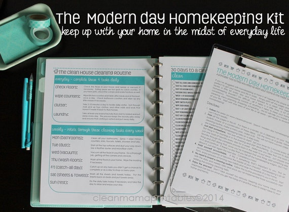 The Clean Mama MODERN DAY HOMEKEEPING Kit- 14 documents - Instant Download