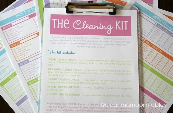 CLEAN - The Classic Cleaning Kit - BRIGHTS - 6 documents - Instant Download
