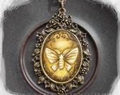 SALE--MOTH No.4..original painting necklace.... Handpainted Vintage Style Frame ..victorian..  black..