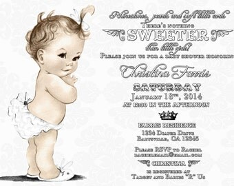 Vintage Baby Shower Black and White Baby Shower Invitation For Girl