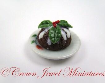 One 1:12 Dickens Christmas Iced Plum Pudding by IGMA Artisan Robin Brady-Boxwell - Crown Jewel Miniatures