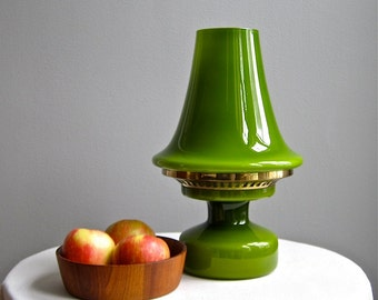 Hans Agne Jakobsson Green Glass Table Lamp Mid Century Modern 1960s Mod Swedish Scandinavian Modern