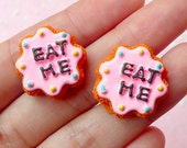 Eat Me Cookie Cabochon / Alice in Wonderland Sugar Cookie / Miniature Scalloped Cookie (2pcs / 21mm) Sweets Deco Kawaii Decoden FCAB087