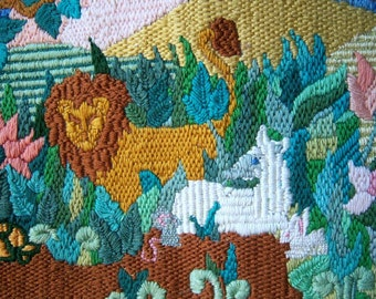 Vintage Peaceable Kingdom Nursery Decor / Needlework Lion and Lamb / Ready to Frame Embroidered Picture or Pillow