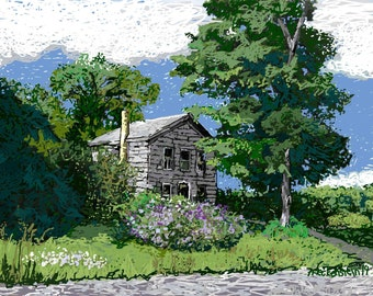 "Art Print of Original Digital painting, Landscape, ""Summer Green"",Fine Art Giclee,Old House,Choice of Sizes and Surfaces,Patty Fleckenstein"