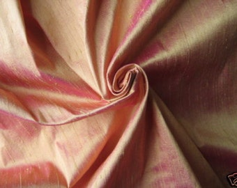 Light Orange Magenta iridescent 100% Dupioni Silk Fabric Wholesale Roll/ Bolt