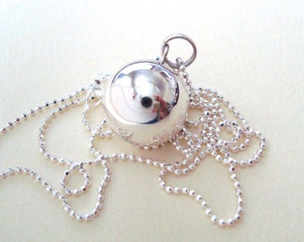 """Round 14mm  Sterling Silver Harmony Ball Pendant with 30"""" bead chain Necklace"""