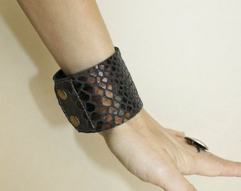 Multi-Strand Leather Cuff Brown Snakeskin Print  Leather  Bracelet Cuff