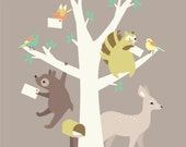 5X7 moving announcement features woodland animals