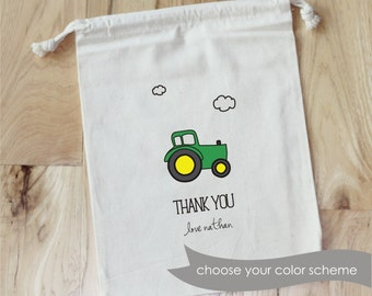 TRACTOR - Personalized Favor Bags - Set of 10 - Birthday - Tractor - Farm - Clouds