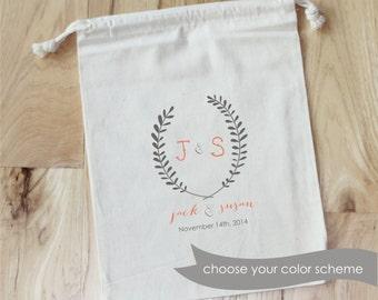 Wedding Favor Bags - Personalized Favor Bags - Set of 10 - Laurels - Wreath - Rustic - Wedding Favor