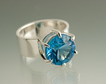 OOAK Large Swiss Blue Topaz 12mm Wide Sterling Silver Ring, Ready to Ship size 8 1/4 - 8 1/2, Birthstone SIlver Ring, Silver Cocktail Ring