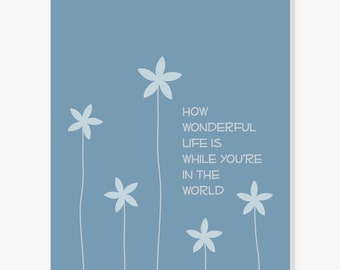 How Wonderful Life Is Elton John Your Song Lyrics, Quote Print for Baby Nursery Anniversary Valentine, Inspirational Art Wall Decor
