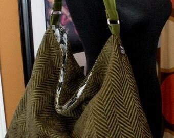 Chevron Zigzag Olive Green Chenille Slouchy Hobo Shoulder Diaper Bag Toddler Tote