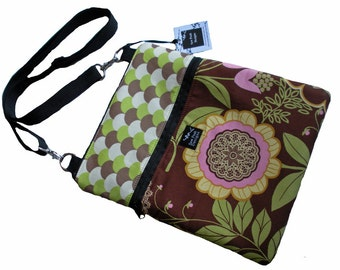 Pink Green Ivory Brown Flowers Lace Amy Butler Fabric iPad Crossbody Kindle Nook Sling  E Reader Passport Travel Messenger Hip Bag Sling