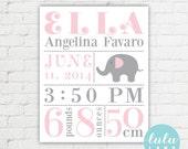 Custom Elephant Birth Announcement Nursery Art - Baby Girl - Printable
