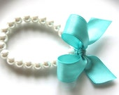 Girls Pearl Bracelet with Aqua Blue Bow