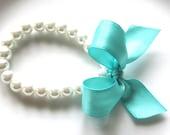 Girls Pearl Bracelet with Aqua Blue Bow