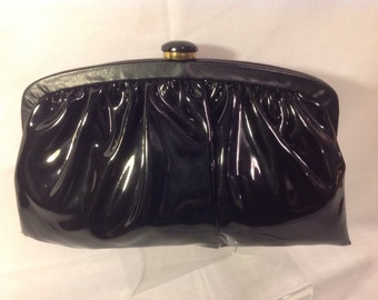 Vintage Black PATENT LEATHER Gathered Women's CLUTCH