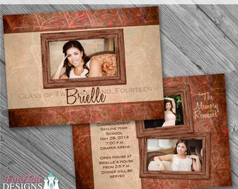 The Memory Remains Senior Graduation Announcement No. 4- custom photo templates for photographers on Millers Lab Specs