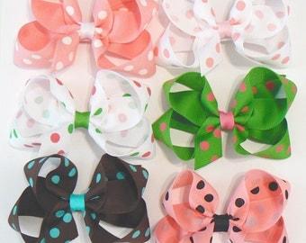 Girl's Polka Dot Hair Bow Set Medium Childrens Kids Boutique Fashion Hair Clip Hairbows (Set of 6) Hair Accessories Choose Colors
