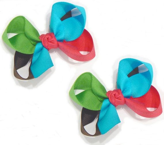 Girl's Combination Hair Bow Set Medium Childrens School Bows Kids Boutique Fashion Hair Clip Hairbows (Set of 2) Choose your Colors