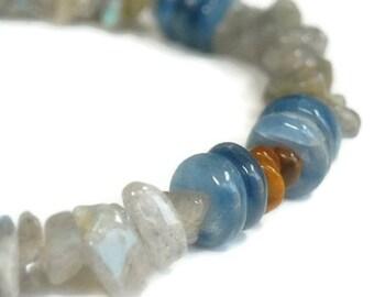 Mens Blue Kyanite Bracelet - Tribal Kyanite and Labradorite Bracelet - Mens Jewelry