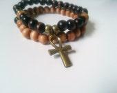 Men's wood and Ankh bracelet-wood bead bracelet- stretch  wood bracelet
