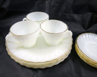 Vintage Fire King Dishes White Swirl Set 1950s Gold Trim 4 Plates Saucers 3 Cups Heat Proof Fire King Plates Cups Basic 11 Pc. Set