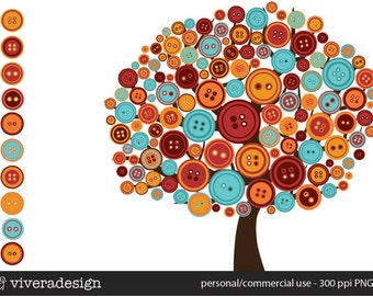 The Button Tree Digital Clip Art - in Red, Rust, and Aqua