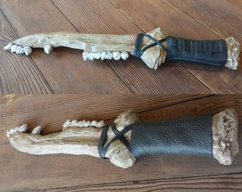 Replica First Blade - Supernatural - Cain - Dean - Bone Blade - Resin Cast - Leather Handle - Jawbone