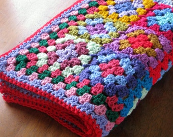 Patchwork Granny Squares Blanket Crochet Afghan Vibrant Throw