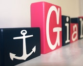 Preppy Girl Nautical Anchor Painted Hot Pink Navy Blue Wood Letter Blocks, Nautical Nursery Wood Stacking Block Art, Preppy Baby Shower Gift