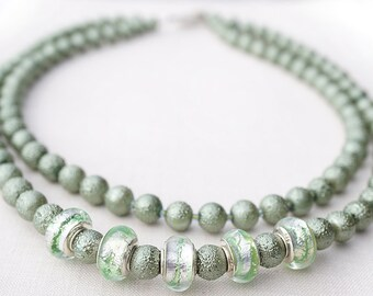 Sage Green Necklace. Sterling Silver Murano Glass Beads. Glass Stardust Pearl Necklace, 2 Strand Necklace, Modern Necklace