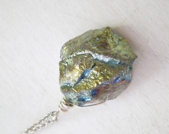 Blue Green Mystic Titanium Quartz Necklace- Natural Quartz Nugget Teal Titanium Pendant Necklace Silver Chain stone no.3