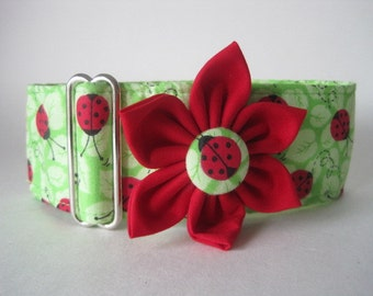 1.5 Inch Martingale Collars, Ladybug Martingale Collar and Collar Flower, Greyhound Martingale Collar, Ladybug Dog Collar