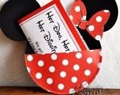 Custom Red and White Polka Dot Minnie Mouse Birthday Invitations Handmade by Lisa
