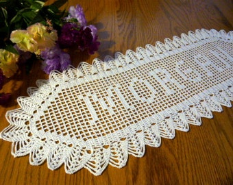 Personalized New Handmade Custom Crochet NAME DOILY,personalize doily,wedding gift,baby shower