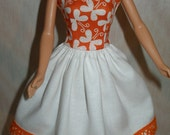 """Handmade 11.5"""" fashion doll clothes - orange and white butterfly dress"""