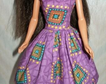 "Handmade 11.5"" fashion doll clothes - purple print dress"