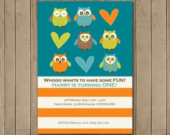 Owls First Birthday Invitation, Printable, DIY, Owl Party, 1st Birthday