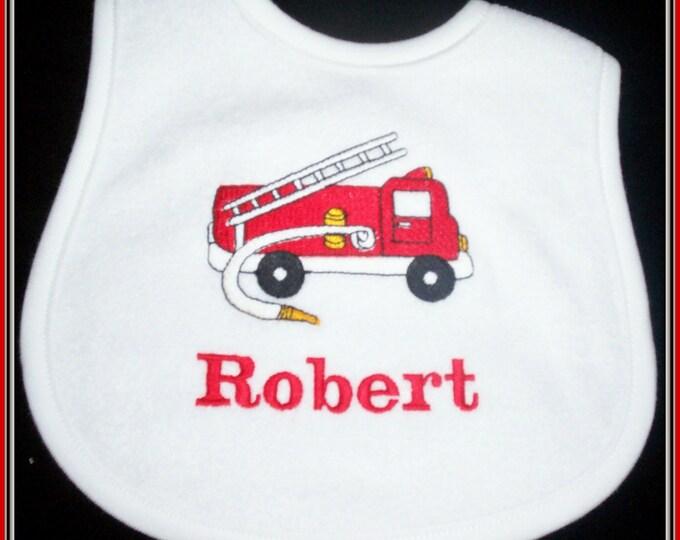 Fire truck baby bib personalized, baby bib personalized, fireman baby bib, fire truck personalized bib, shower gift, fire fighter baby gift